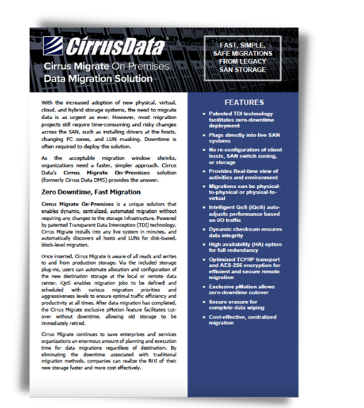 Cirrus Migrate On-Premises: Data Migration